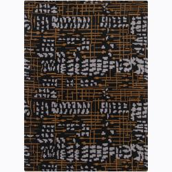 Mandara Hand-tufted Black Wool Rug (7' x 10')