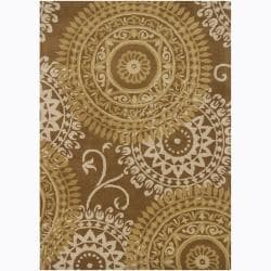 Mandara Hand-tufted Abstract Brown Wool Rug (5' x 7')