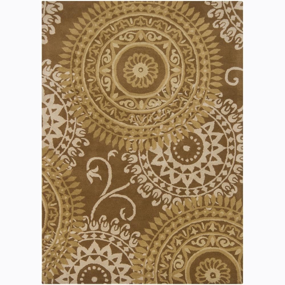 Mandara Hand-tufted Abstract Brown Wool Rug (7' x 10')