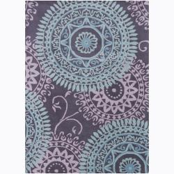 Bajrang Hand-tufted Abstract Wool Rug (5'x7')