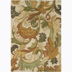 Mandara Hand-tufted Floral Ivory Wool Rug (5' x 7')