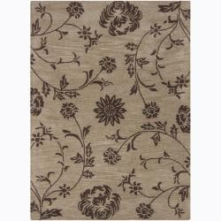 Mandara Hand-Tufted Floral Taupe/Brown Wool Rug (7' x 10')
