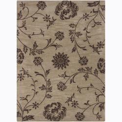 Mandara Hand-Tufted Floral Taupe/Brown Wool Rug (7' x 10')