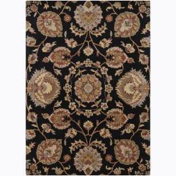 Mandara Hand-Tufted Transitional Floral Black Wool Rug (5' x 7')