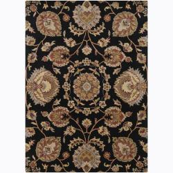 Mandara Hand-Tufted Floral Black Rectangular Wool Rug (7' x 10')