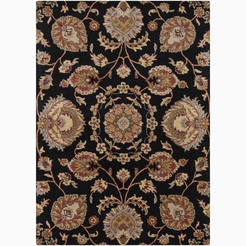Mandara Hand-Tufted Floral Black Rectangular Wool Rug (7' x 10')