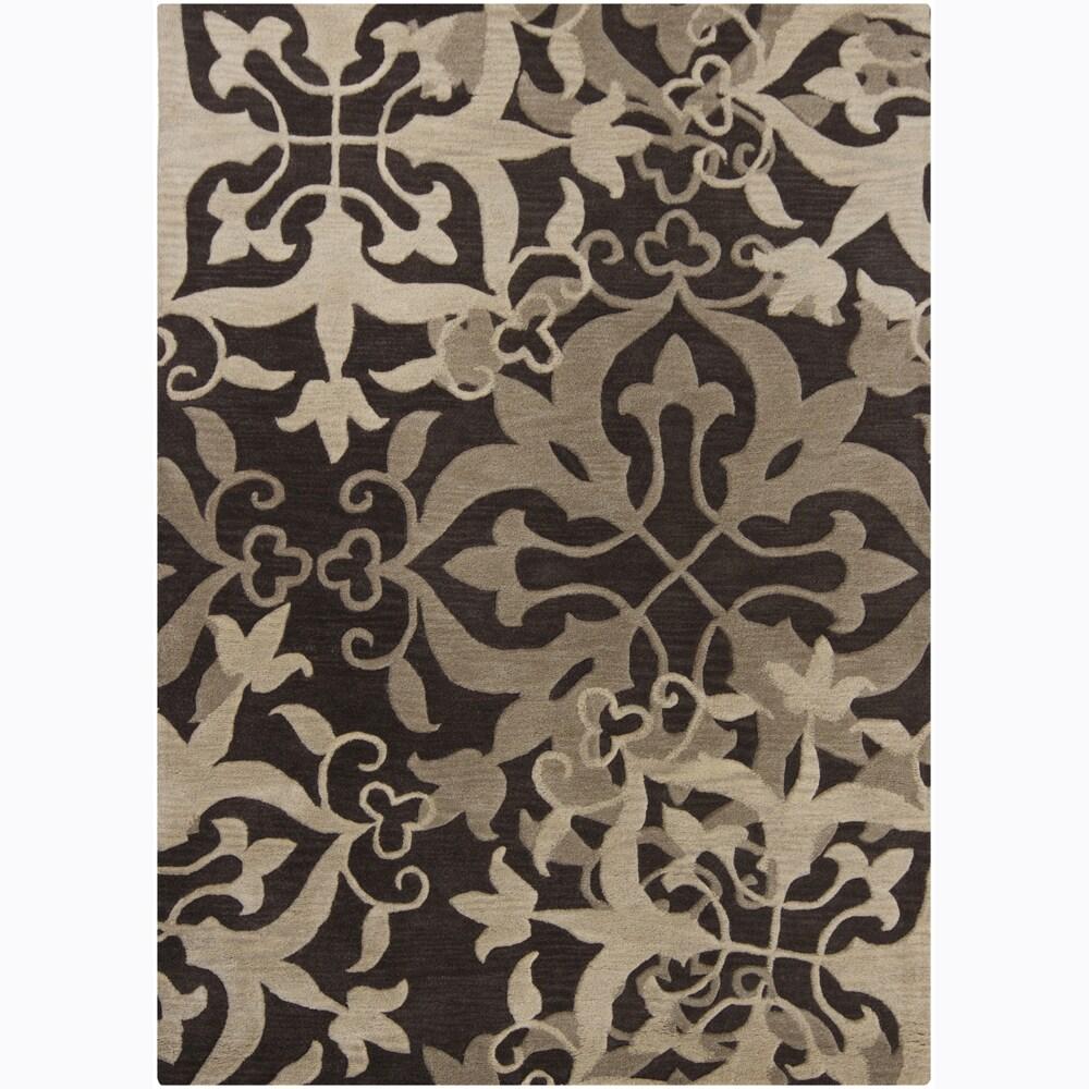Mandara Hand-Tufted Floral Brown/Beige Wool Rug (7' x 10')