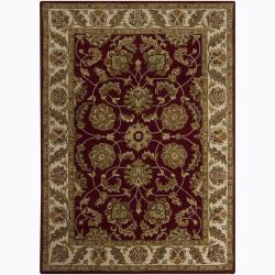 Mandara Hand-tufted Oriental Red Wool Rug (5' x 7')