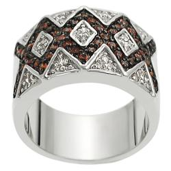 Tressa Silvertone White and Orange Cubic Zirconia Ring