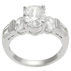 Tressa Silvertone Oval-cut and Baguette-cut Cubic Zirconia Ring