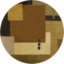 Hand-Tufted Mandara Brown Geometric Wool Area Rug (9' Round)