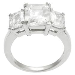 Journee Collection Silvertone Emerald-cut Cubic Zirconia Ring