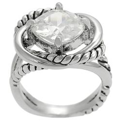 Tressa Silvertone Cushion-cut Cubic Zirconia Rope-style Ring