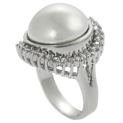 Tressa Silvertone Cubic Zirconia and Faux Pearl Ring