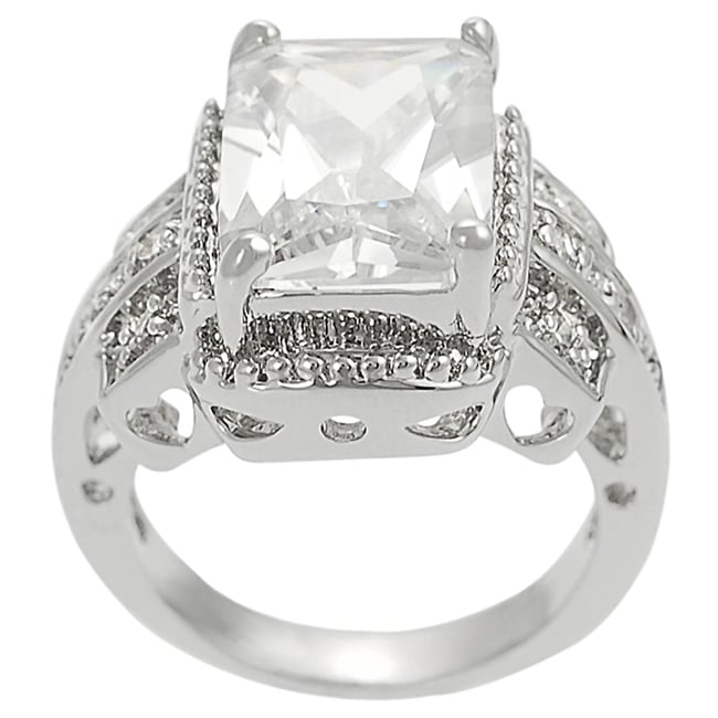 Journee Collection Silvertone Emerald & Round CZ Bridal Engagement Ring