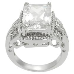 Tressa Collection Silvertone Emerald & Round CZ Bridal Engagement Ring