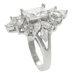 Journee Silvertone Emerald and Marquise-cut Cubic Zirconia Ring