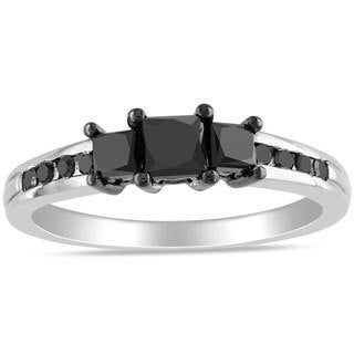 Miadora 10k White Gold 1ct TDW Princess-cut Black Diamond 3-stone Ring