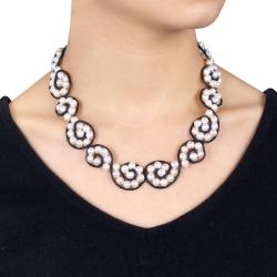 Black Leather Cord Freshwater White Pearl Necklace (6-6.5 mm)