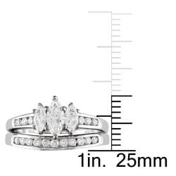 Miadora 14k White Gold 1ct TDW Diamond 3-stone Ring Set (G-H, I1-I2)