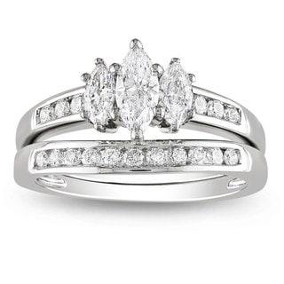 Miadora 14k White Gold 1ct TDW Diamond 3-stone Ring Set (G-H, I1-I2)