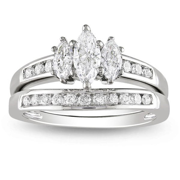 Miadora 14k White Gold 1ct TDW Marquise Diamond Ring Set (G-H, I1-I2)