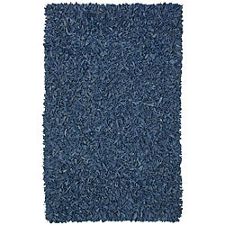 Hand-tied Pelle Blue Leather Shag Rug (2'6 x 4'2)