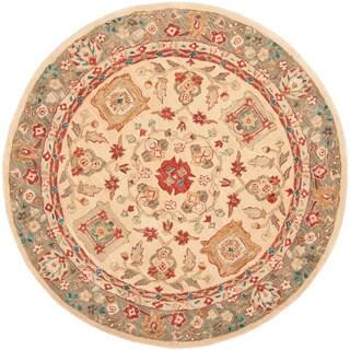 Safavieh Hand-made Oushak Beige/ Green Hand-spun Wool Rug (4' Round)