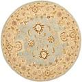 Safavieh Hand-made Farahan Blue/ Sage Hand-spun Wool Rug (8' Round)