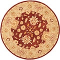Hand-made Farahan Red/ Sage Hand-spun Wool Rug (8' Round)