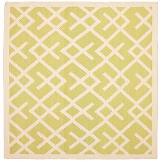 Safavieh Hand-woven Moroccan Dhurrie Light Green/ Ivory Wool Rug (6' Square)