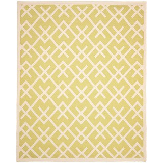 Safavieh Moroccan Light Green/Ivory Reversible Dhurrie Transitional Wool Rug (9' x 12')