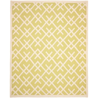Moroccan Light Green/Ivory Dhurrie Transitional Wool Rug (9' x 12')