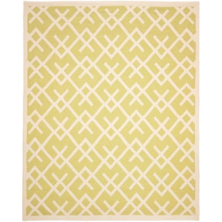 Moroccan Light Green/ Ivory Dhurrie Wool Rug (9&#39; x 12&#39;)