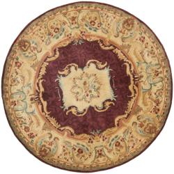 Safavieh Handmade Aubusson Limours Burgundy/ Gold Wool Rug (3'6 Round)