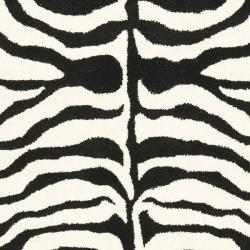 Handmade New Zealand Wool Zebra Black and Ivory Rug (3'6 x 5'6')
