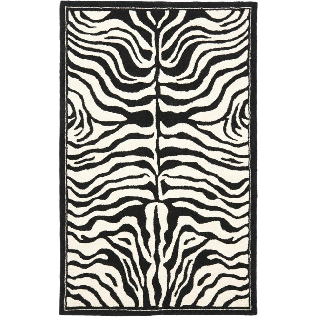 Safavieh Handmade New Zealand Wool Zebra Black and Ivory Rug (5'x 8')