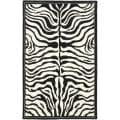 Handmade New Zealand Wool Zebra Black and Ivory Rug (5'x 8')