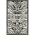 Handmade New Zealand Wool Zebra Black and Ivory Rug (7'6 x 9'6)