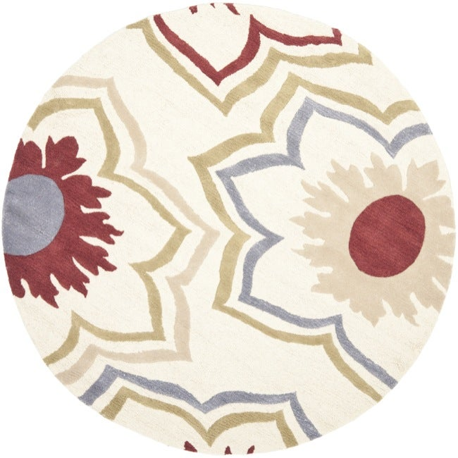 Safavieh Handmade Memories Ivory New Zealand Wool Rug (6' Round)