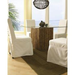 Bamboo Stick Glass Top Dining Table
