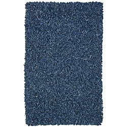 Hand-tied Pelle Blue Leather Shag Rug (5' x 8')