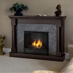 Real Flame Bennett Dark Walnut Gel Fuel Fireplace