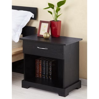 Bosman 1-Drawer Black Nightstand