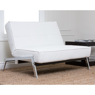 Abbyson Living Venice White Convertible Euro Sleeper Chair Lounger