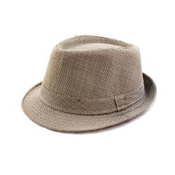 Faddism Taupe/ White Plaid Fedora Hat