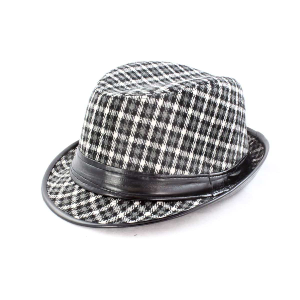 Faddism Black/ White Houndstooth Fedora Hat