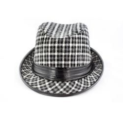 Faddism Black/ White Houndstooth Fedora Hat