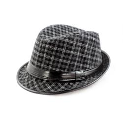 Faddism Black/ Grey Patterned Fedora Hat