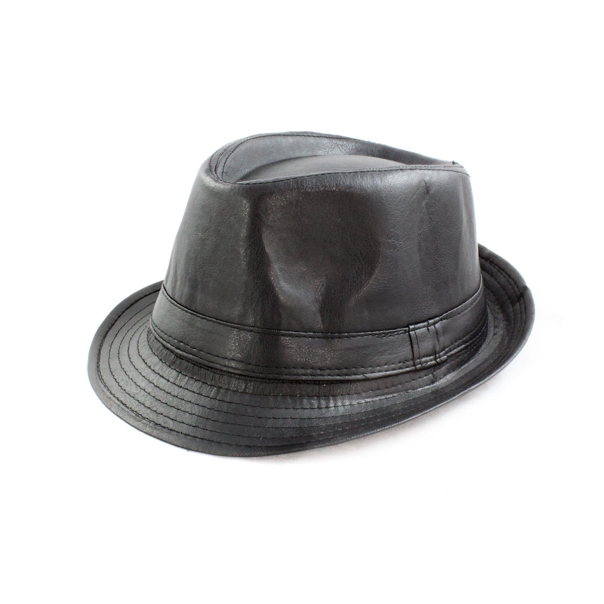Faddism Men's Black Faux-leather Fedora Hat